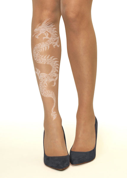 White Dragon Tattoo Printed Tights & Pantyhose