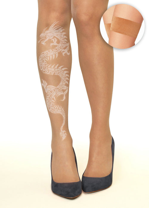 White Dragon Tattoo Printed Hold-Ups, Tights & Pantyhose