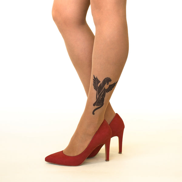 Winged Panther tattoo printed hold-ups, tights & pantyhose