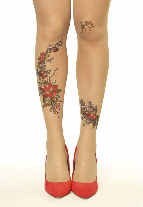 Winter Blooms Flowers, Berries & Pine Cones Tattoo Printed Tights/Pantyhose