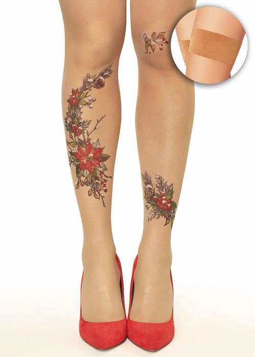 Winter Blooms Flowers, Berries & Pine Cones Tattoo Printed Hold-Ups, Tights/Pantyhose