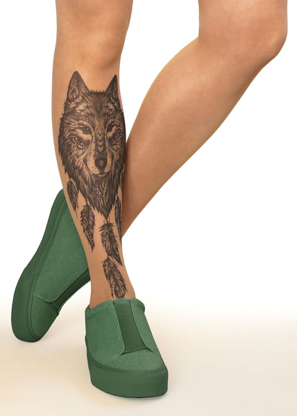 Wolf Dreamcatcher Tattoo Printed Tights Pantyhose Online Store