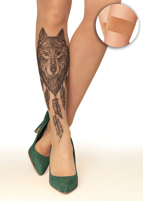 Wolf Dreamcatcher Tattoo Printed Sheer Hold-ups, Tights/Pantyhose
