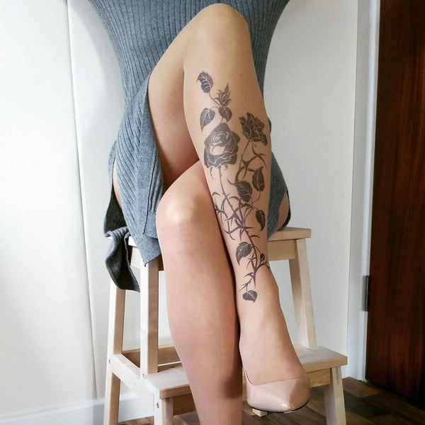 Black Roses tattoo printed hold-ups, tights & pantyhose