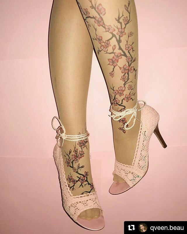 Cherry Blossoms Tattoo Sheer Tights