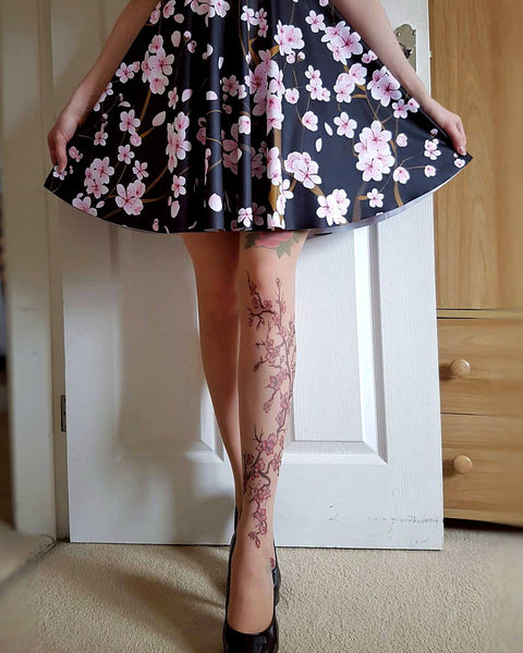 Cherry Blossoms tattoo printed hold-ups, tights & pantyhose