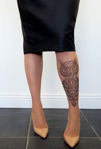Damask Tribal Owl Tattoo Printed Tights & Pantyhose