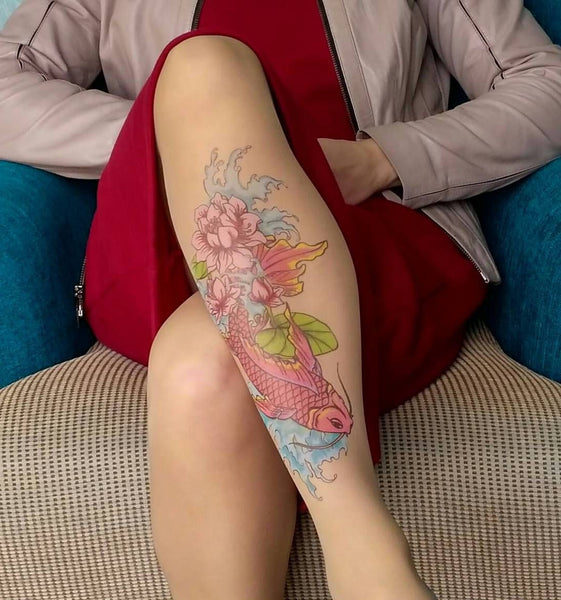 Koi Fish N' Flowers tattoo printed hold-ups, tights & pantyhose