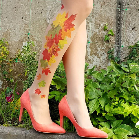 Maple Fall Leaves Tattoo Printed Tights & Pantyhose