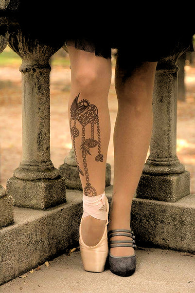 Steampunk Heart tattoo printed tights & pantyhose