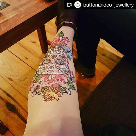Sugar Skull & Flowers Tattoo Printed Tights & Pantyhose