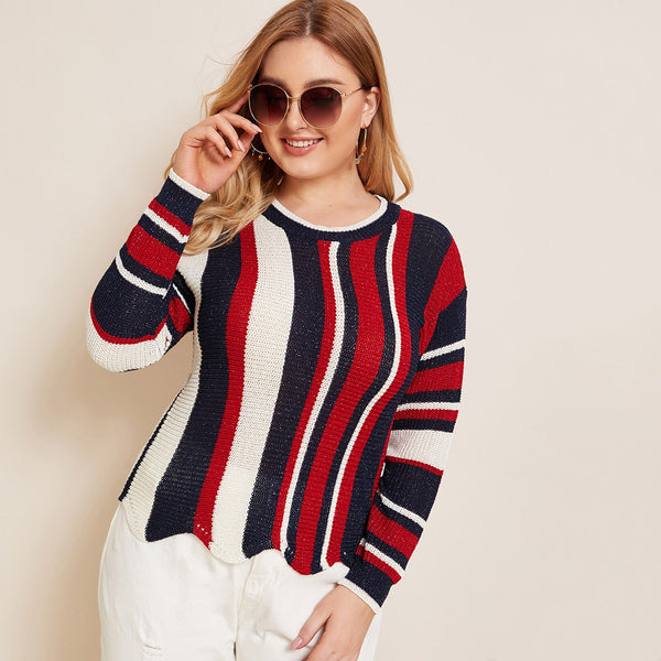 striped plus size sweater