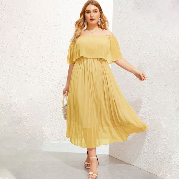 yellow off shoulder plus size dress