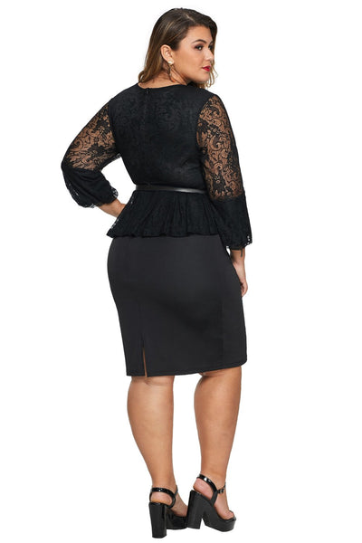 Black Plus Size Peplum Dress with Lace Long Sleeve