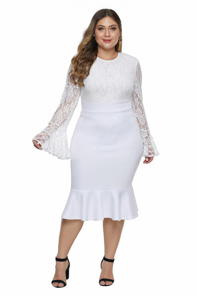 white Lace Bodice & Bell Sleeve Plus Size Dress