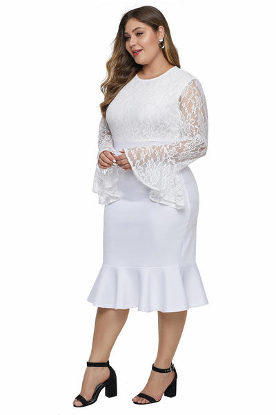 Lace Bodice & Bell Sleeve Plus Size Dress