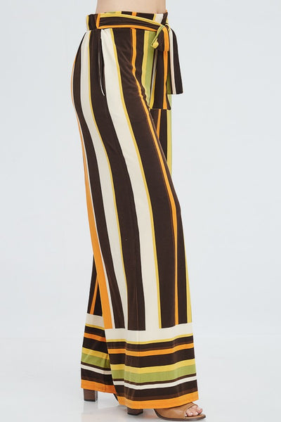 Green Mustard Stripe Pants