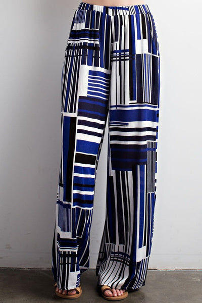 Blue white and black palazzo pants