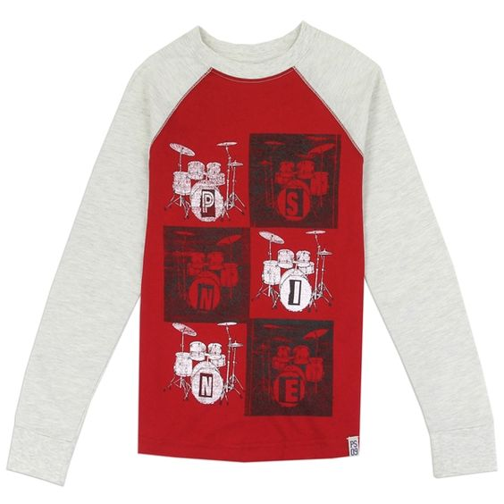 Boys Red Music Graphic Long Sleeve Top
