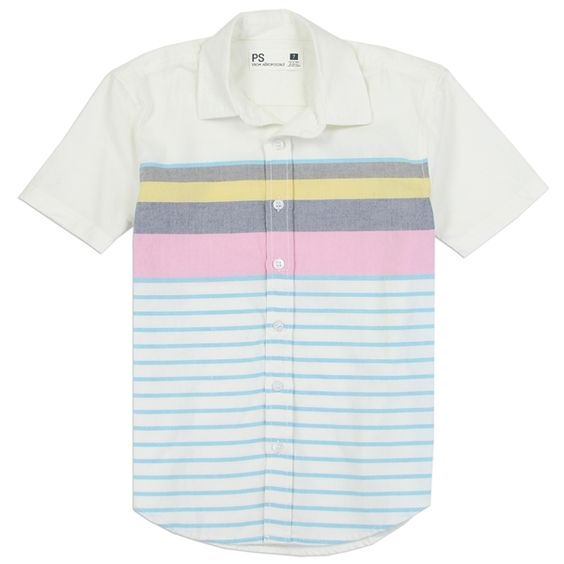 White short sleeve button down striped shirt