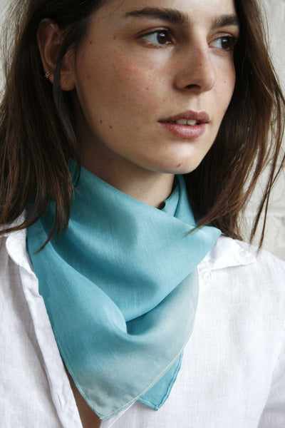handpainted turquoise and grey ombre on silk/cotton bandana.