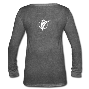 Women's Long Sleeve  V-Neck Flowy FAKTR Tee - deep heather