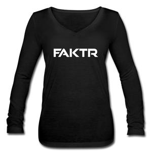 Women's Long Sleeve  V-Neck Flowy FAKTR Tee - black