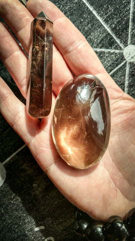 Root Beer Smoky Quartz Massage Wand and Foot Stone