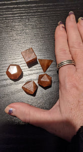 Orange Aventurine Sacred Geometry Platonic Solids Set