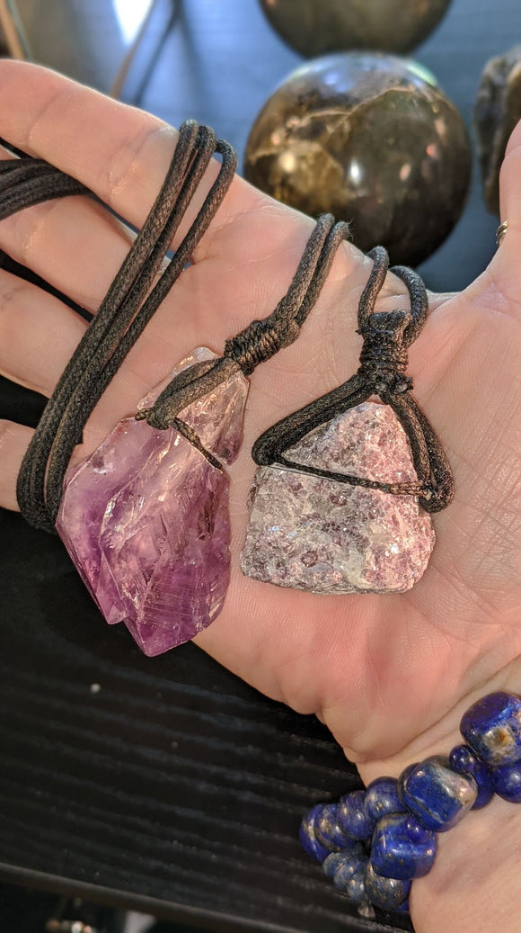 Amethyst & Lepidolite Raw Necklaces on Waxed Linen AMLENS