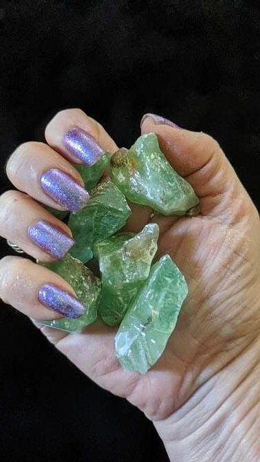 Raw Green Calcite 6 Piece Gridding Set