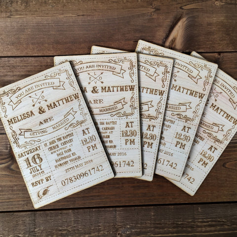 Wooden Wedding invitations Vintage design