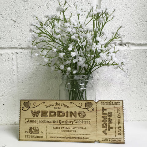 Wooden Wedding Invitations Ticket Design