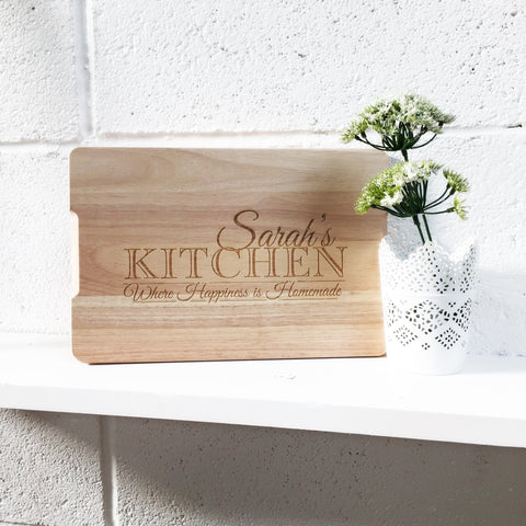 Happiness is homemade personalised chopping board