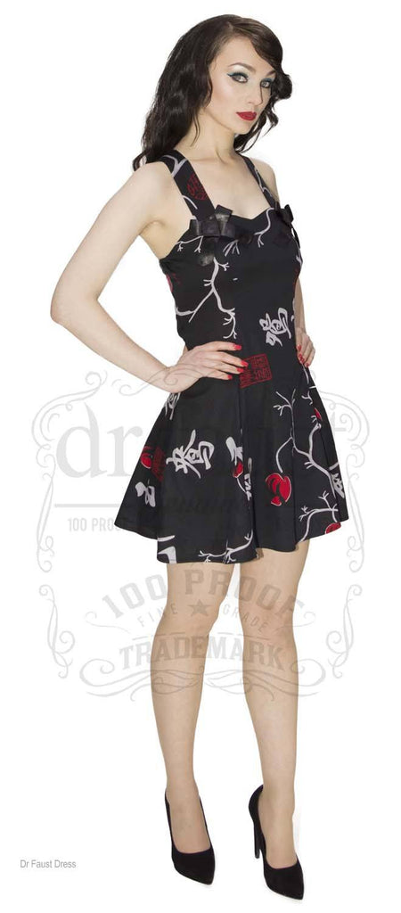 Limited Edition LBD Chinese Asian Oriental Mandarin Floral Flower Print Short Flare Black Dress