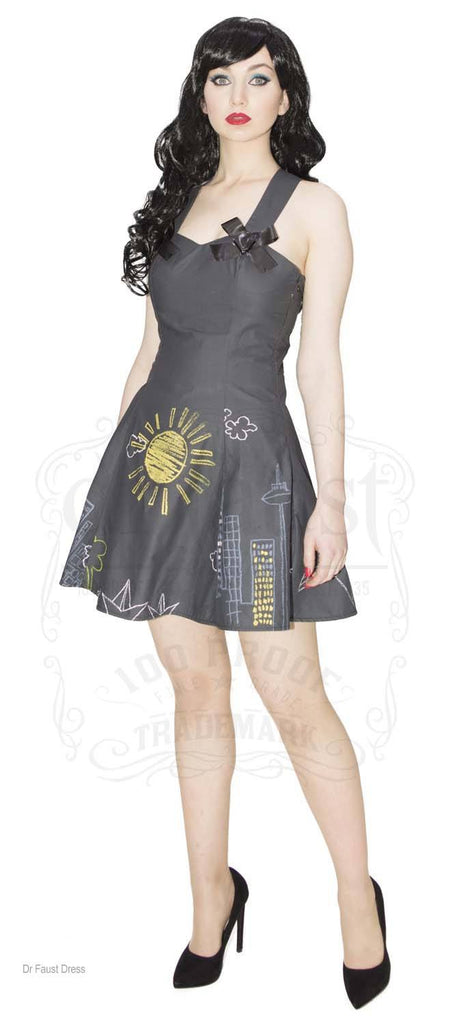 Limited Edition Chalk Board Short Flare Light Charcoal Grey Bow Dress
