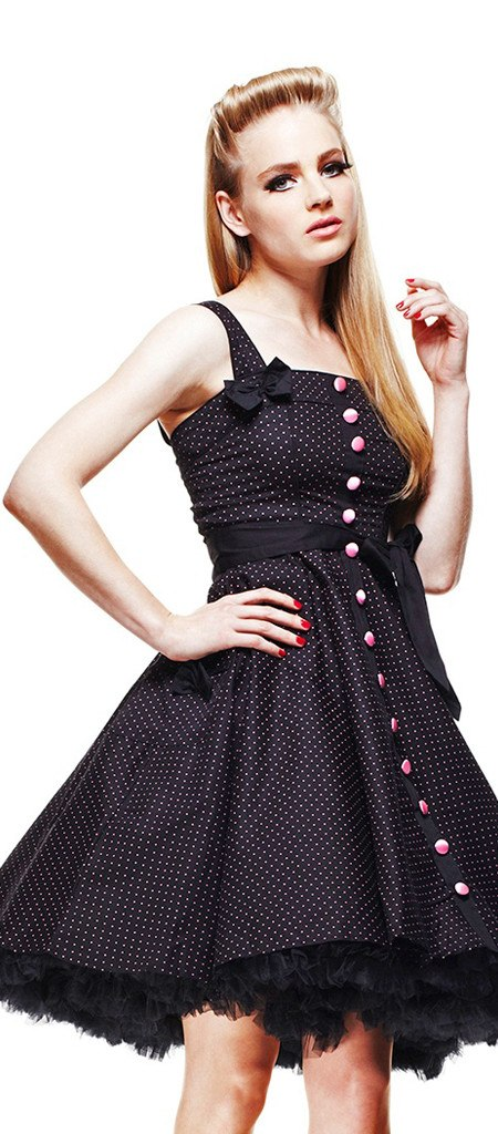 Hell Bunny Gery Polka Dress Pink