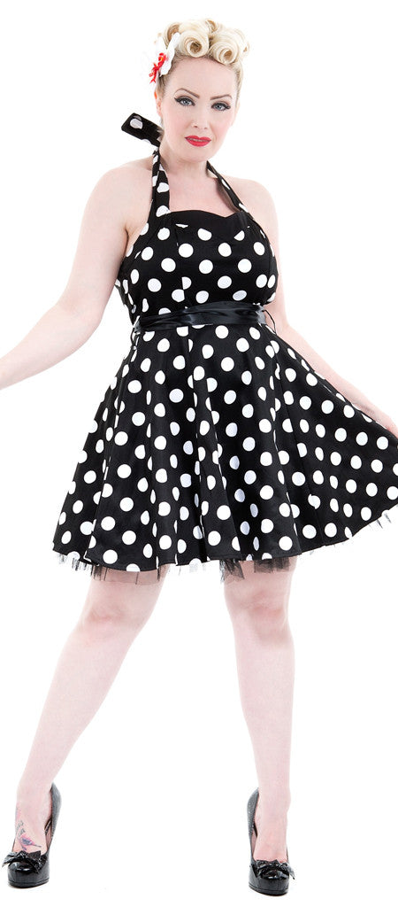 H&R Black White Polka dots Halter Minidress