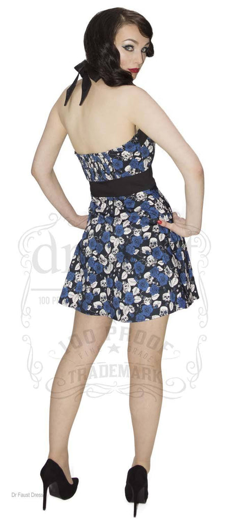 Exclusive Different Gothic Alternative  Blue Rose and Skull Short Dress