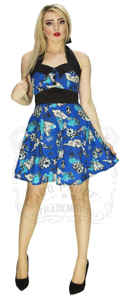 Wants and Breeze Petrol Island Dress in Blue