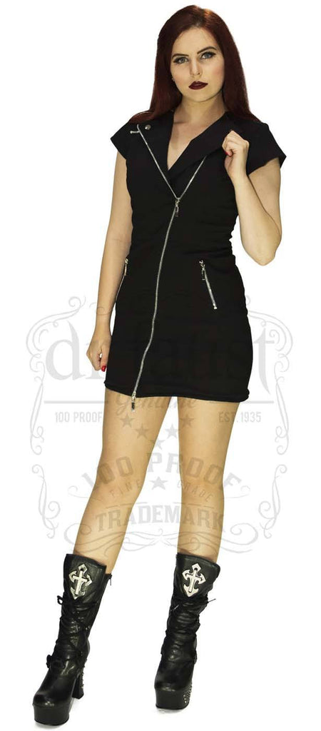 Alexander Biker Dress in Black