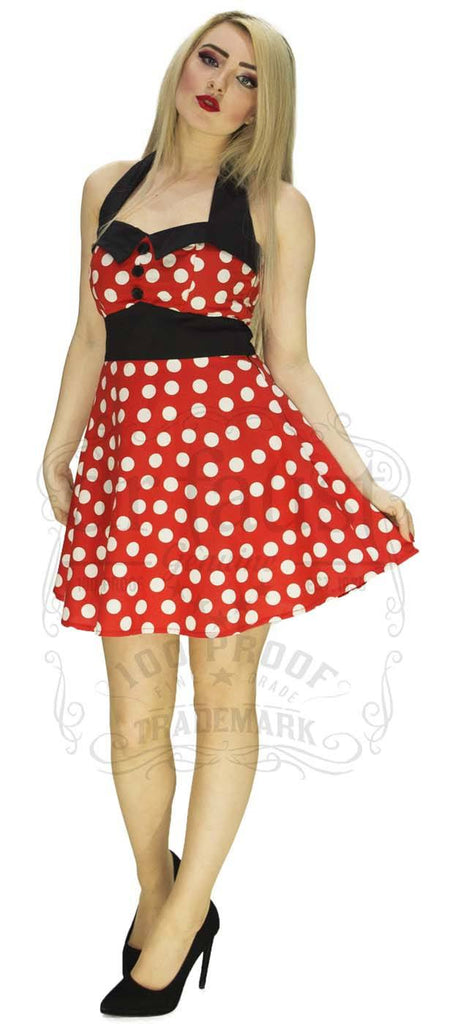 Polka Dot Dress in Red with White Dots.