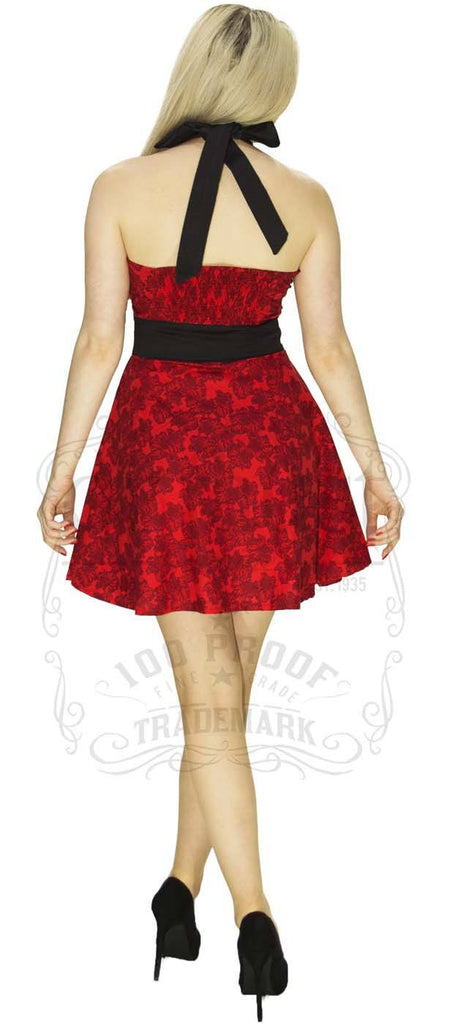 People stop in the Street Flower Dress in Red