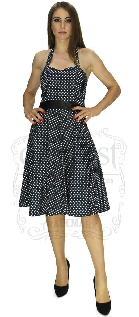 Swing Dancing Days by Faust 50s, You and Me, Polka Dot Halter Rockabilly Dress in Navy