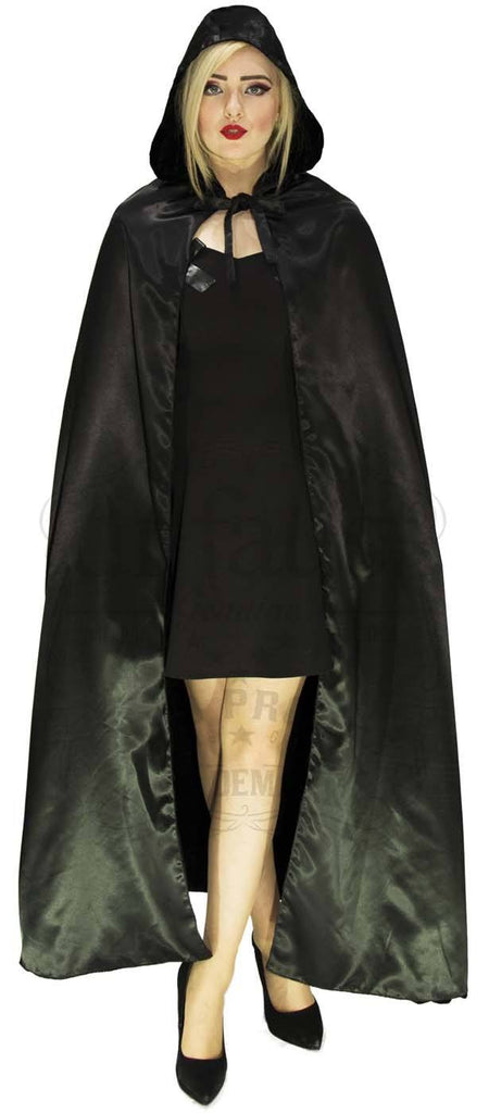 Black Velvet and Black Silk Reversible Hooded Cape