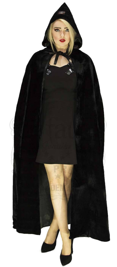 Black Velvet and Black Silk Reversible Pointed Hooded Cape