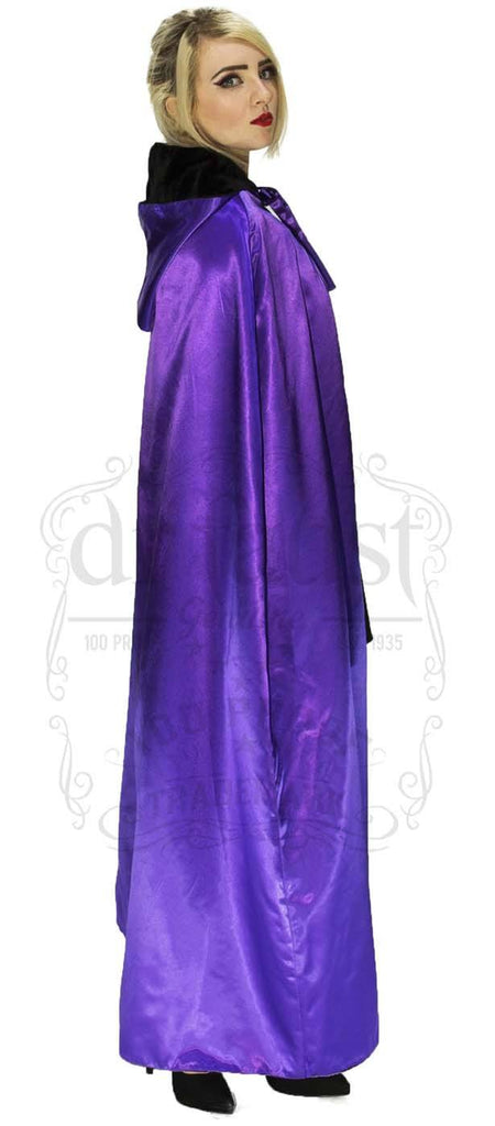 Black Velvet and Purple Violet Silk Reversible Hooded Cape
