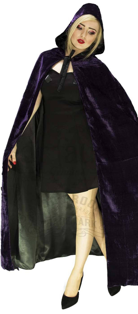 Gothic Hooded Cape in Deep Purple Violet Velvet and Black Silk Reversable