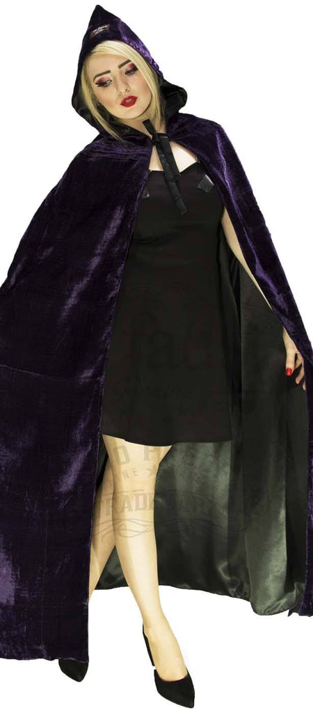 Deep Purple Violet Velvet and Black Silk Reversible Pointed Hooded Cape