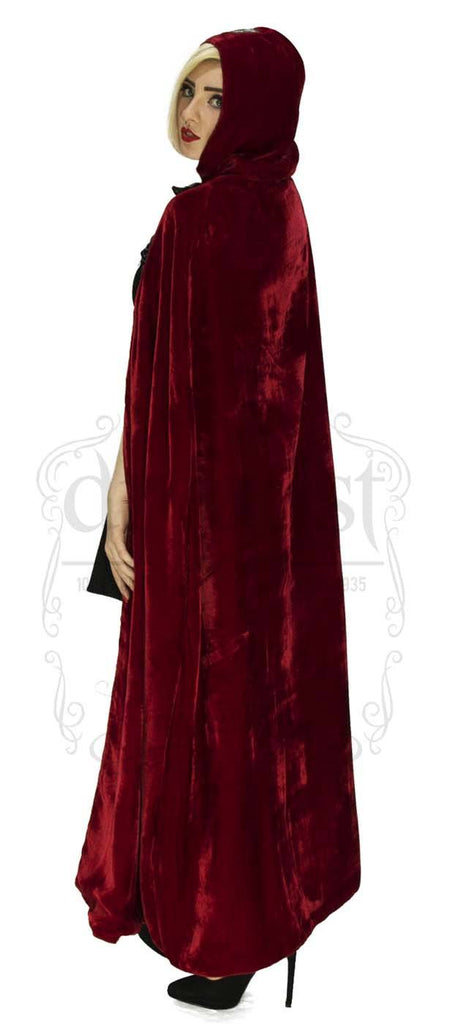 Gothic Hooded Cape in Red Velvet and Black Silk Reversable